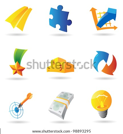 Icons for business symbols. Raster version. Vector version is also available. - stock photo