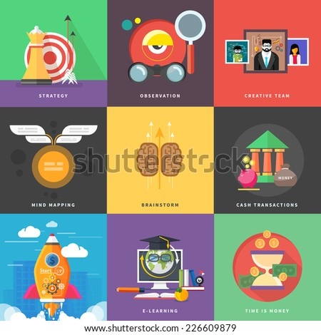 Icons for cash transactions, headwork, strategy planning, business tools start up observation creative team mind mapping brainstorm e-learning time is money. Icons in flat design. Raster version - stock photo