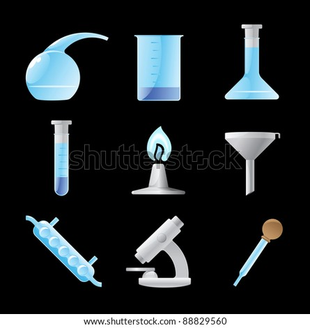 Icons for chemical lab. Raster version. Vector version is also available. - stock photo