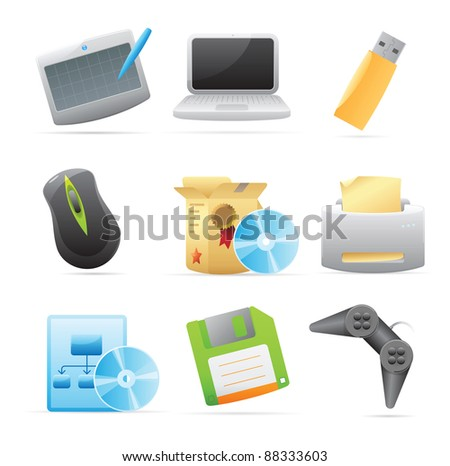 Icons for computer. Raster version. Vector version is also available.