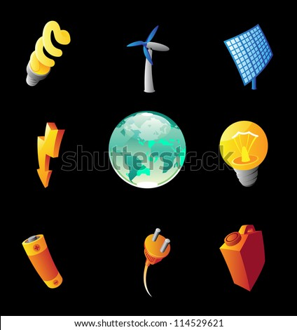 Icons for energy. Black background. Raster version. Vector version is also available. - stock photo