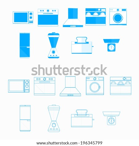 Icons for household equipment. Blue monochrome and contour icons for household equipment on white. - stock photo