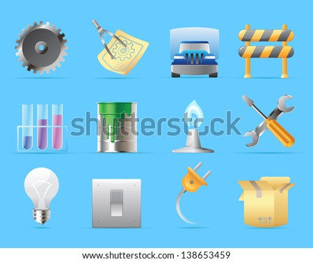 Icons for industry. Raster version. Vector version is also available.