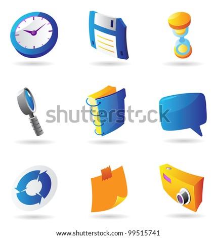 Icons for interface. Raster version. Vector version is also available. - stock photo