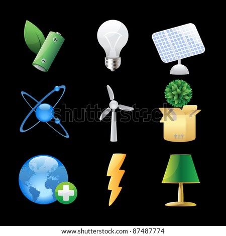 Icons for nature, energy and ecology. Raster version. Vector version is also available. - stock photo