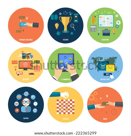 Icons for online shop, e-commerce, payment methods, education, strategy, support and delivery in flat design. Raster version - stock photo