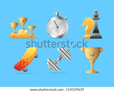 Icons for sport. Raster version. Vector version is also available. - stock photo
