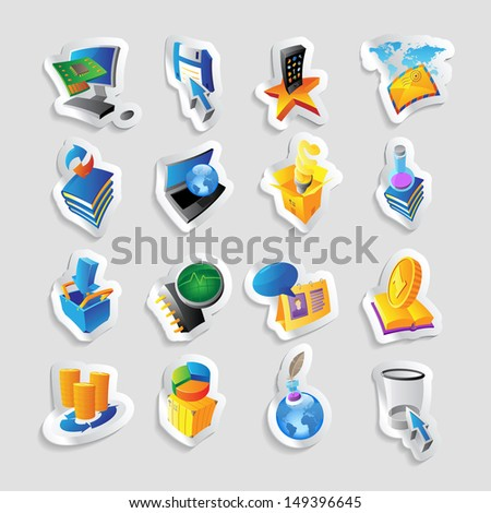 Icons for technology and computer interface. Raster version.