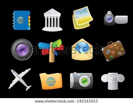 Icons for travel. Raster version. Vector version is also available. - stock photo