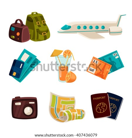 Icons for vacation and tourism elements of cartoon isolated on white background, concept icons for tourism, vacation, traveling, flying on a plane to another country, tourism icons travel recreation - stock photo