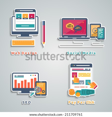 Icons for web design, seo, social media and pay per click internet advertising in flat design. Raster version - stock photo