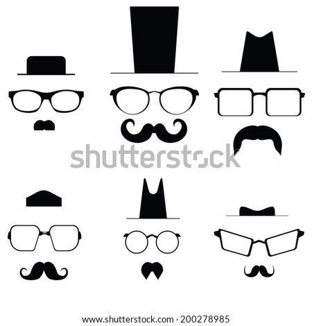 Icons glasses mustache and folders. Raster - stock photo