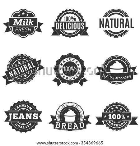 Icons in gray label, quality, template labels for retail and design. Isolated on a white background