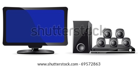 icons LCD TV and domestic cinema illustration