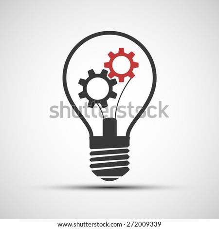 icons light bulb with mechanical gears - stock photo