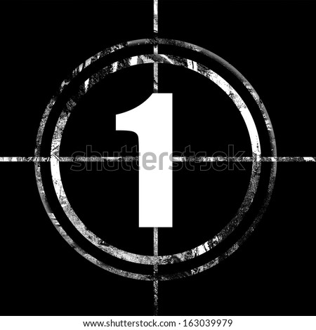 Icons of circled white numbers for movie countdown on black grunge background, available as single huge image and as full set - stock photo