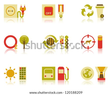 Icons of efficient energy use, recycling of wastes, tree planting, organic farming, and wildlife conservation - stock photo