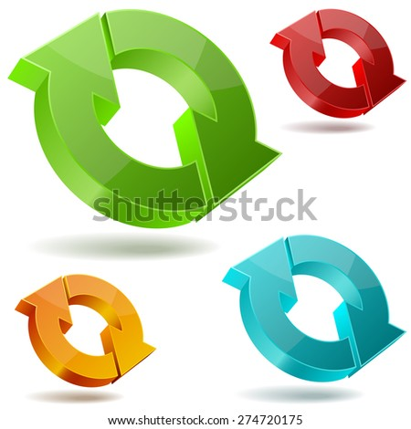 Icons of glossy circulating 3D arrows isolated on white background. - stock photo