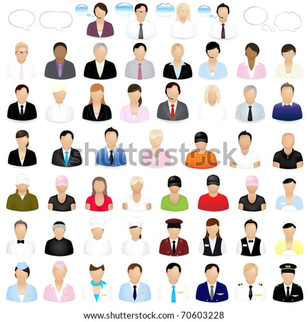 Icons Of People With Speech Bubbles, Isolated On White Background - stock photo