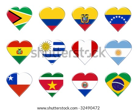 Icons of South America flags. Illustration over white background