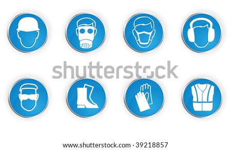 Icons representing 8 important safety instructions. - stock photo