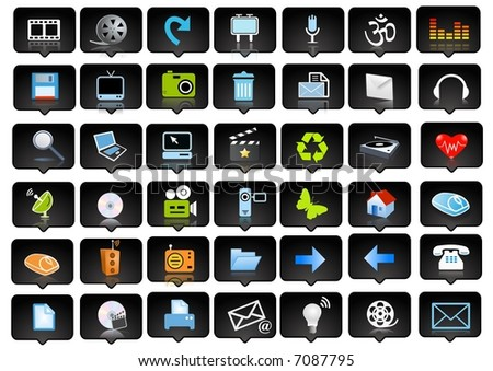 icons set and logo - web page design elements - stock photo