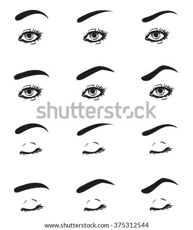 icons set female eye long eyelashes stock illustration