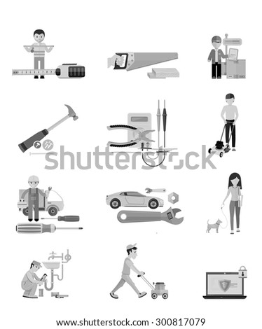 Icons set of hand saw. Black icons. Man, person with toolbox and wrench in hands. Male worker showing folding ruler roulette. Plumbing work. Man moves with lawnmower. Electrical work. Raster version - stock photo
