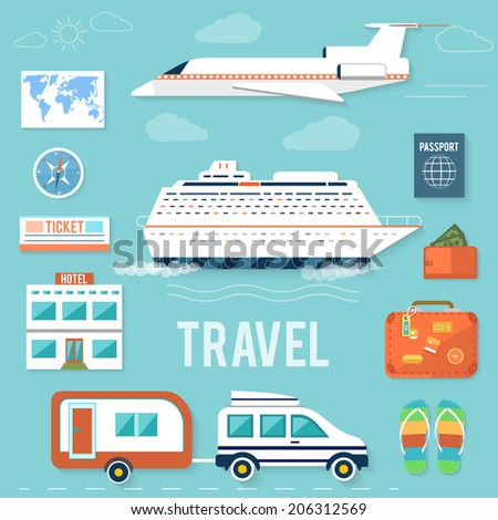 Icons set of traveling, planning a summer vacation, tourism and journey objects and passenger luggage in flat design. Different types of travel. Business world travel concept. Raster version - stock photo