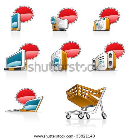 icons set- There is a place for an price or discount. Simple gradients only - no gradient mesh. - stock photo