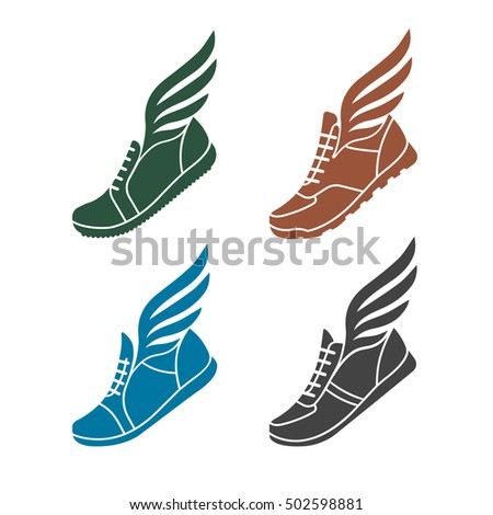 icons sports shoes wings stock illustration 502598881 shutterstock rh shutterstock com shoe with wing logo name shoe with wings logo answer