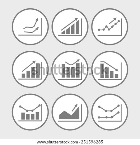 Icons with charts and graphs - stock photo