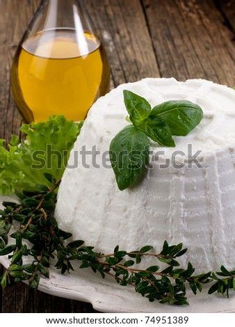icotta with basil lettuce myrtle and olive oil