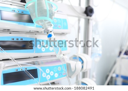 ICU equipment. Dropping and modern appliances. - stock photo