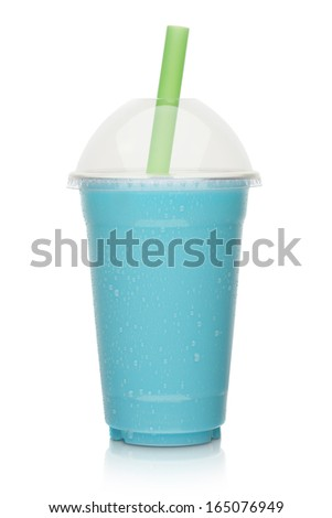 Icy blue milk shake isolated on a white background