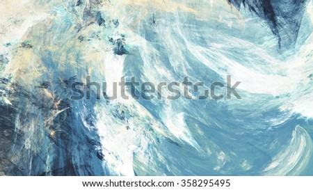 Icy clouds. Artistic splashes of bright paints. Abstract blue color background with lighting effect. Modern bright painting texture for creative graphic design. Shiny pattern. Fractal artwork