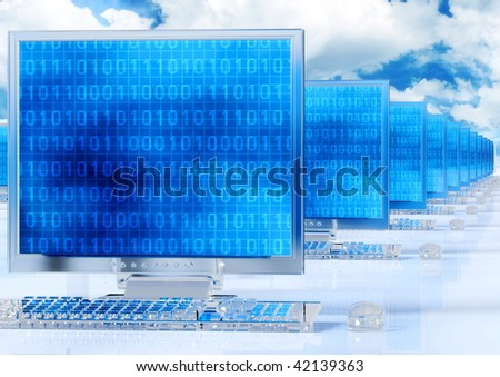 Icy glass computer in a network - stock photo