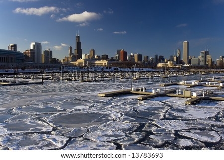 Icy Lake Michigan - stock photo