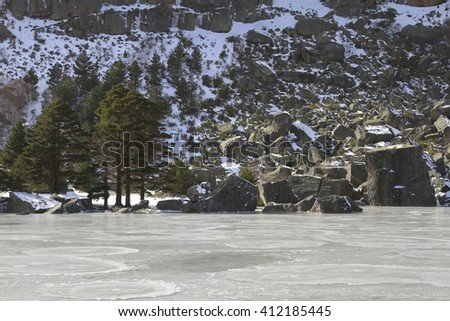 icy landscape in La Laguna Negra (Black lagoon) in Soria (Spain)