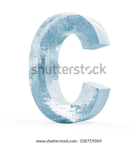 Icy Letters isolated on white background (Letter C) - stock photo