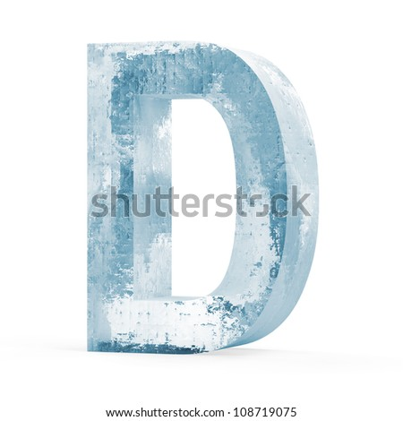 Icy Letters isolated on white background (Letter D) - stock photo