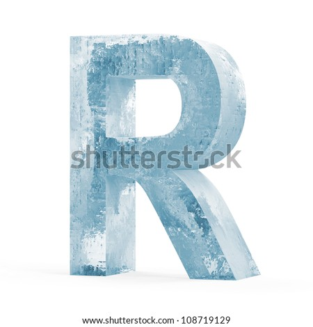 Icy Letters isolated on white background (Letter R) - stock photo