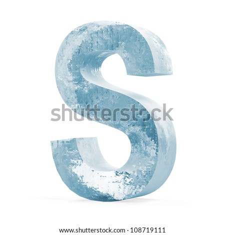 Icy Letters isolated on white background (Letter S)