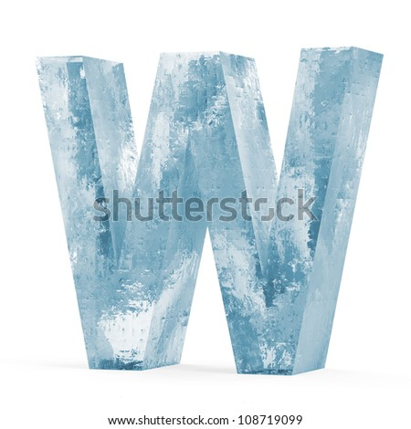 Icy Letters isolated on white background (Letter W) - stock photo