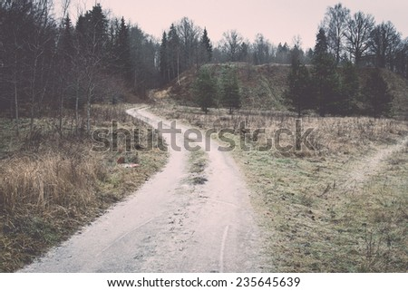 icy rural landscape with trees and land in countryside. vintage film effect retro