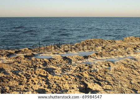 Icy shore of the Caspian Sea.