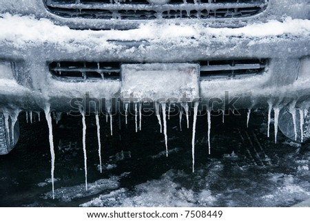 icy, snowy, winter driving - stock photo
