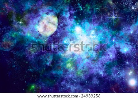 Icy space, formed star among nebula - stock photo