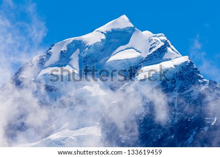 Icy summit top of iconic Aoraki Mount Cook highest peak of South Island  New Zealand - stock photo