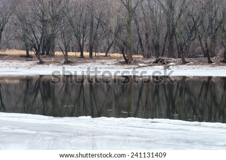 Icy waters of mississippi river and wooded banks at crosby farm park in saint paul minnesota - stock photo